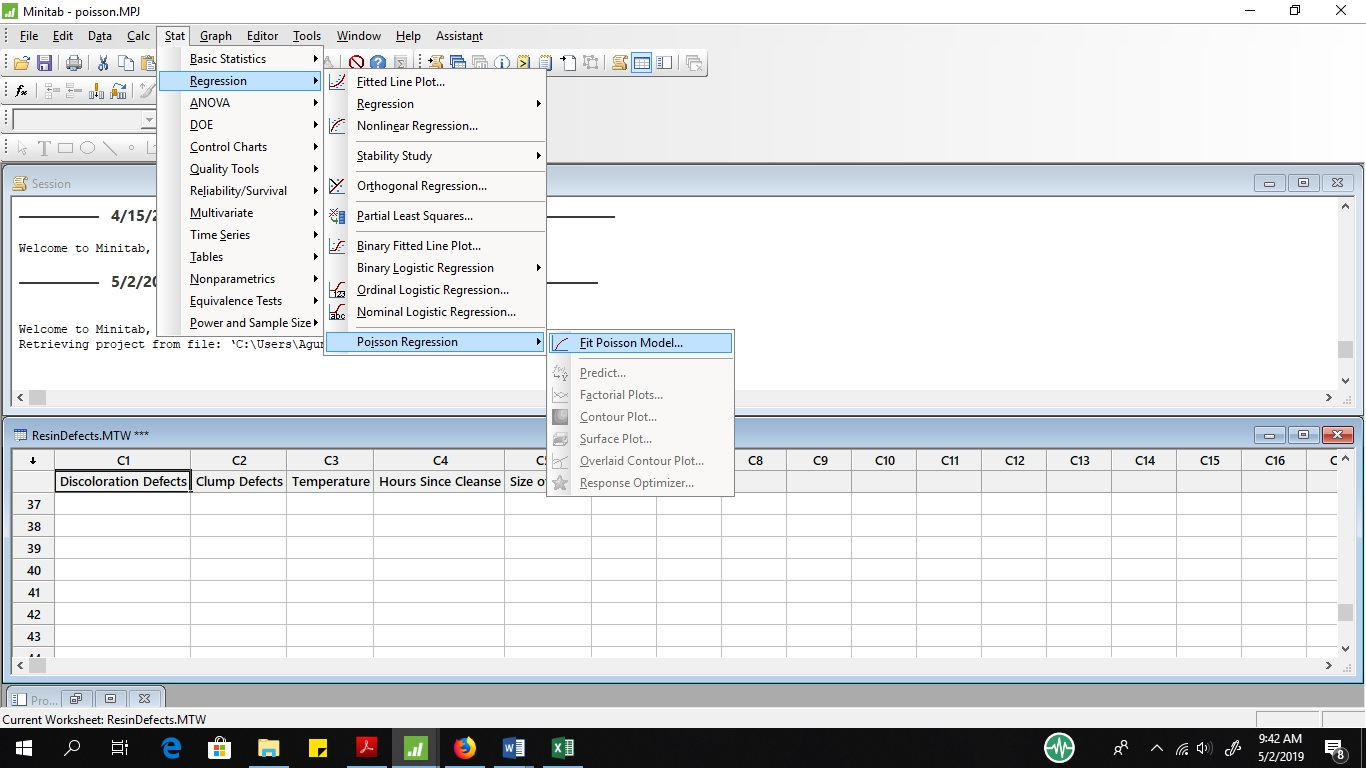poisson regression on minitab