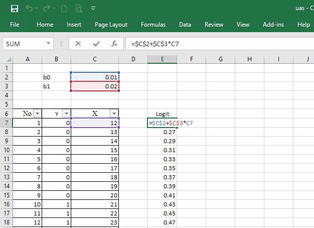 menghitung logit pada menghitung manual regresi logistik