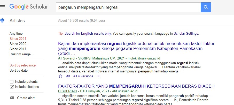 hasil pencarian regresi
